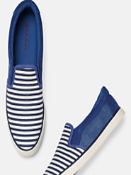 Buy Mast & Harbour Men Blue & White Striped Slip On Sneakers - Casual Shoes for Men 5841855 | Myntra