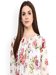 Buy Mayra Women Off White Printed Blouson Top - Tops for Women 7206115 | Myntra