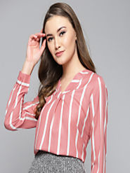 Buy Harpa Women Pink & White Striped Top - Tops for Women 8986051 | Myntra