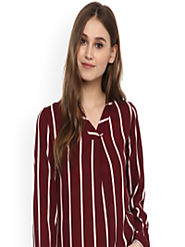 Buy Harpa Women Maroon & White Striped Top - Tops for Women 2102605 | Myntra