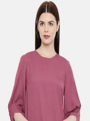 Buy Vero Moda Women Mauve Pink Solid Top - Tops for Women 10388341 | Myntra