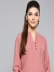 Buy Harpa Women Dusty Pink Solid Blouson Top - Tops for Women 8485185 | Myntra