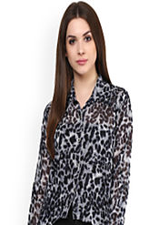 Buy Mayra Women Black Printed Shirt Style Top - Tops for Women 7256771 | Myntra