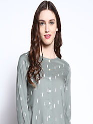 Buy RARE ROOTS Women Olive Green Printed Top - Tops for Women 4369826 | Myntra