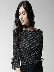 Buy Style Quotient Women Black Polka Dot Print Top - Tops for Women 4325708 | Myntra