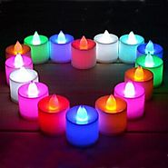 Aone Multi Color LED Candles, Tea Light Candles, for diwali/festival candles smokeless Battery Operated Set of 12Pcs....