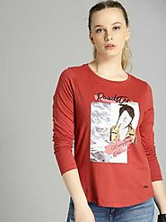 Roadster Printed Women Round Neck Red T-Shirt - Buy Roadster Printed Women Round Neck Red T-Shirt Online at Best Pric...