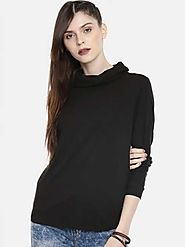 Roadster Solid Women Cowl Neck Black T-Shirt - Buy Roadster Solid Women Cowl Neck Black T-Shirt Online at Best Prices...