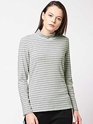 ether Striped Women High Neck Grey T-Shirt - Buy ether Striped Women High Neck Grey T-Shirt Online at Best Prices in ...