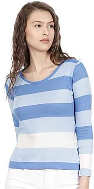 ether Striped Women Round Neck Blue, White T-Shirt - Buy ether Striped Women Round Neck Blue, White T-Shirt Online at...