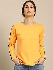 ether Solid Women Round Neck Yellow T-Shirt - Buy ether Solid Women Round Neck Yellow T-Shirt Online at Best Prices i...