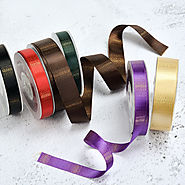 Horizontal Gradient Colorful Golden Striped Ribbon Double Face Satin Ribbon
