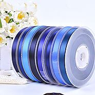 Polyester Double Face Satin Ribbon Blue Series Satin Ribbon