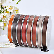 Polyester Double Face Satin Ribbon Brown Series Satin Ribbon