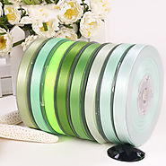 Polyester Double Faced Satin Ribbon Green Series Satin Ribbon