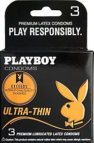 Buy Playboy 3 Pack Ultra Thin Condoms at Only $2.69 USD - Playboy Condoms