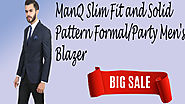 ManQ Slim Fit and Solid Pattern Formal/Party Men's Blazer.