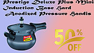 Xclusiveoffer Prestige Deluxe Plus Mini Induction Base Hard Anodized Pressure Handis, 3.3 Litres, Black.