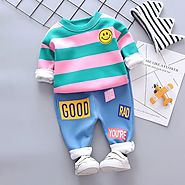 Baby Girl Boy Clothing Sets Autumn Winter Infant Clothes Suits Plus Thick Velvet Stripe Smiley Face T Shirt Pants Chi...