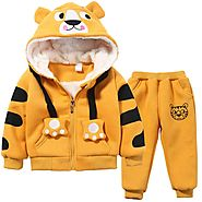 Cute Boys Girls Cartoon Tigers Clothing Suits Baby Plus Velvet Hoodies Pants 2Pcs Sets 1-5Yrs