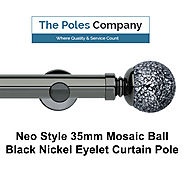 Shop Now! Mosaic Ball Black Nickel Eyelet Curtain Pole Online