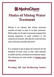 Modes of Mining Water Treatment