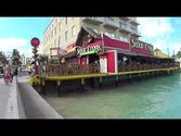 Walking from port in Nassau Bahamas to beach area