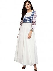 Buy White And Blue Printed Flare Cotton Jacket Kurta For Women