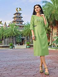 Buy Green Color Cotton Kurti Online