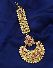 Check out the Collection of Rajasthani Borla Maang Tikka by Anuradha Art Jewellery