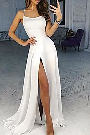 Simple White Scoop High Slit Satin Prom Dresses, Long Cheap Prom Gowns on sale – jolilis