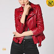 CWMALLS Red Leather Biker Jacket CW650032