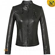 CWMALLS® Womens Designer Leather Bomber Jacket CW607011