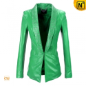 Women Green Slim Leather jacket CW670017 - cwmalls.com