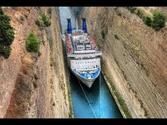 A ship passing through the Corinth Canal (GREECE)