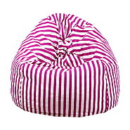 Pink and White Organic Cotton Bean Bag Cover