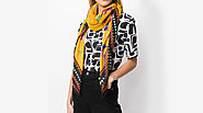Digital printed Scarves with contrast border - Weaveron