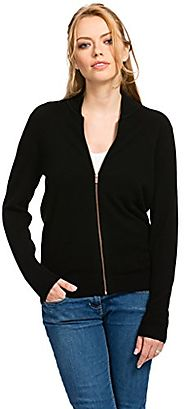 Citizen Cashmere Zip Cardigan for Women - 100% Cashmere (Black)