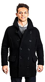 Citizen Cashmere Black Men Peacoat - 100% Tibetan Yak Wool