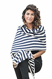 Cashmere Scarf Wrap - 100% Cashmere - by Citizen Cashmere (One Size Fits All, White Mariniere)