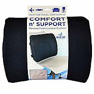 Buy Now ! Blue Jay An Elite Healthcare Brand Comfort and Support Memory Foam Lumbar Cushion with Adjustable Straps