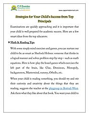 STRATEGIES FOR YOUR CHILD'S SUCCESS FROM TOP PRINCIPALS.