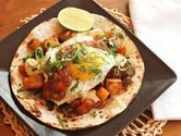 Breakfast Tacos with Crispy Potatoes, Chorizo, and Fried Egg