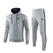 Real Madrid Fans can take pride in 19/20 Real Madrid Gray Hoodie Training Kit