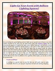 Light-Up Your Event with Balloon Lighting System - Event Lighting Rental