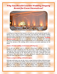 Wedding Drapery Rental for Event Decorations - Event Lighting Rental | edocr