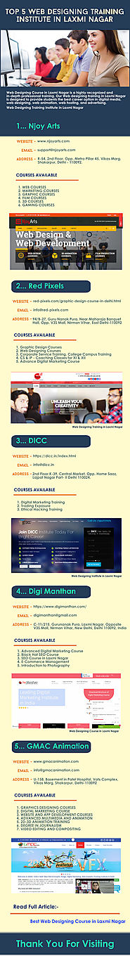 Top 5 Web Designing Training Institute in Laxmi Nagar | Infographic