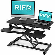 RIF6 Adjustable Height Standing Desk Converter - 32 Inch Wide Laptop Riser or Dual Monitor Workstation - Easily Sit o...