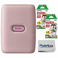 Fujifilm Instax Mini Link Smartphone Printer (Dusky Pink) + Fuji Instax Mini Film (40 Sheets) - Instax Mini Printer B...