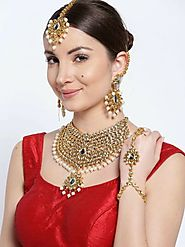 INDIAN WEDDING TRENDY BRIDAL WHITE PEARLS ALL IN ONE JEWELRY SET
